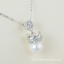 925 Silver Chain Rhinestone Crown One Pearl Pendant Necklace